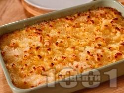 Вкусни обикновени сладки варени макарони на фурна с яйца, захар, прясно мляко и сирене (класическа рецепта) - снимка на рецептата